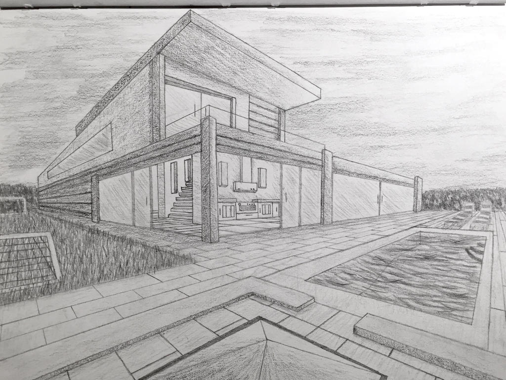 Modern house by emerson vzn on modern house by emerson drawn house two point perspective