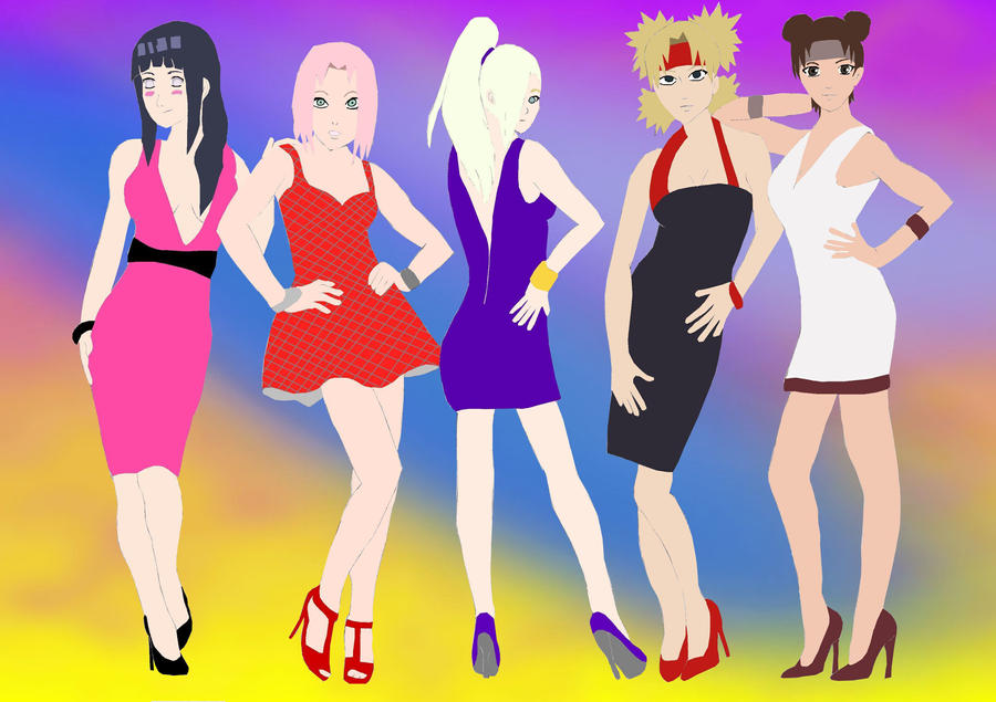 naruto girls party night color by eliisheba d34reh7 Figure is a cross between Women's Bodybuilding and a Bikini model.