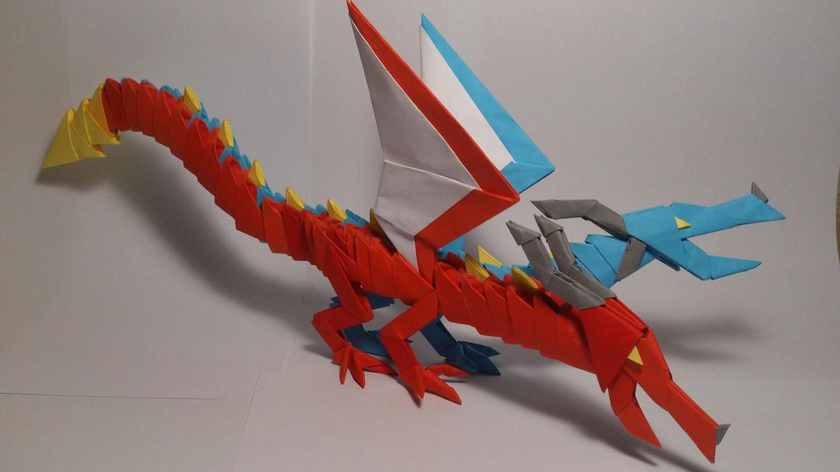 Two headed 3d Origami Dragon by Kaminskyyy