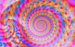 Pink, Blue, and Orange Fractal Spiral