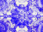 Frosty White and Blue Fractal Snowflake by emilymh2018