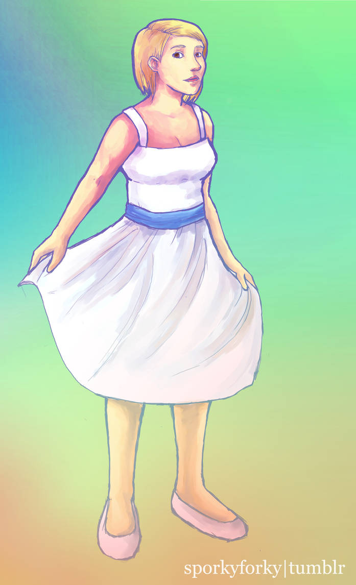 Quinn in a White Dress with a Blue Satin Sash by sporkyforky
