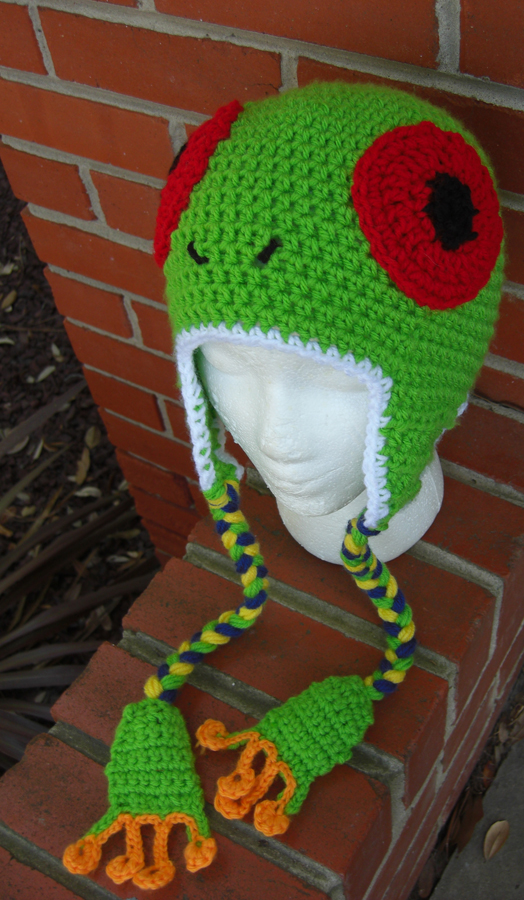 Red Eyed Tree Frog Hat by TheCrochetDragon