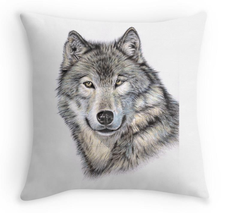 Wolf Kissen - Wolf Pillow by ArtsandDogs