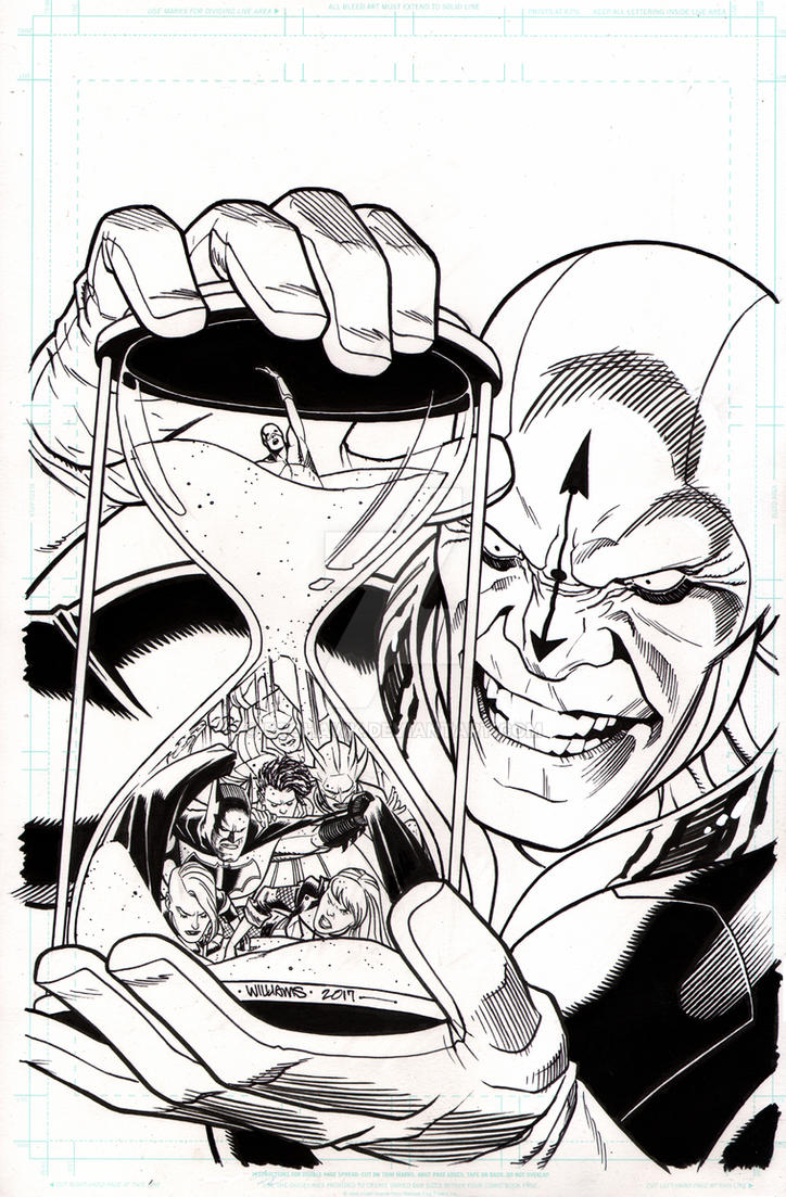 JLA cover #27 pen and ink final by BroHawk