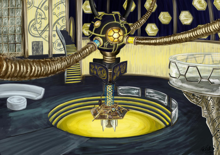 TARDIS interior by Launchycat