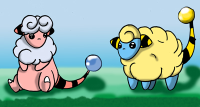 Mareep and Flaafy by XxEspeonxX