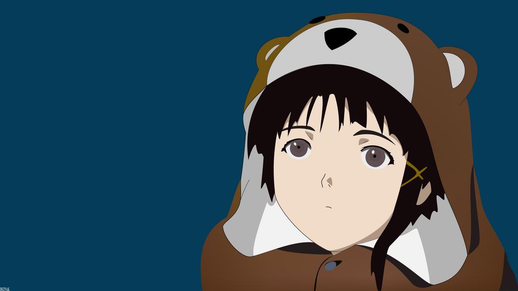Lain Bearsuit (With eyes) - Minimalist Wallpaper by Deznak
