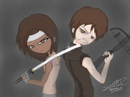 Badass have returned .: Michonne and Daryl:. by MaroDraxon
