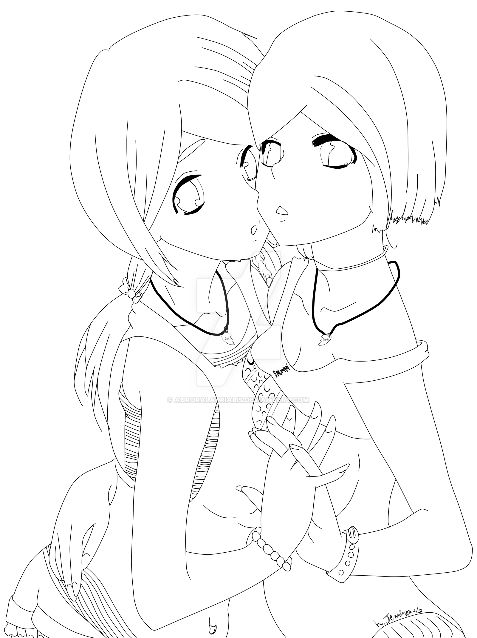 nelle and laura  bff lineart by auroralaurialis on deviantart