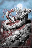 Spiderman vs anti venom by Vinz-el-Tabanas