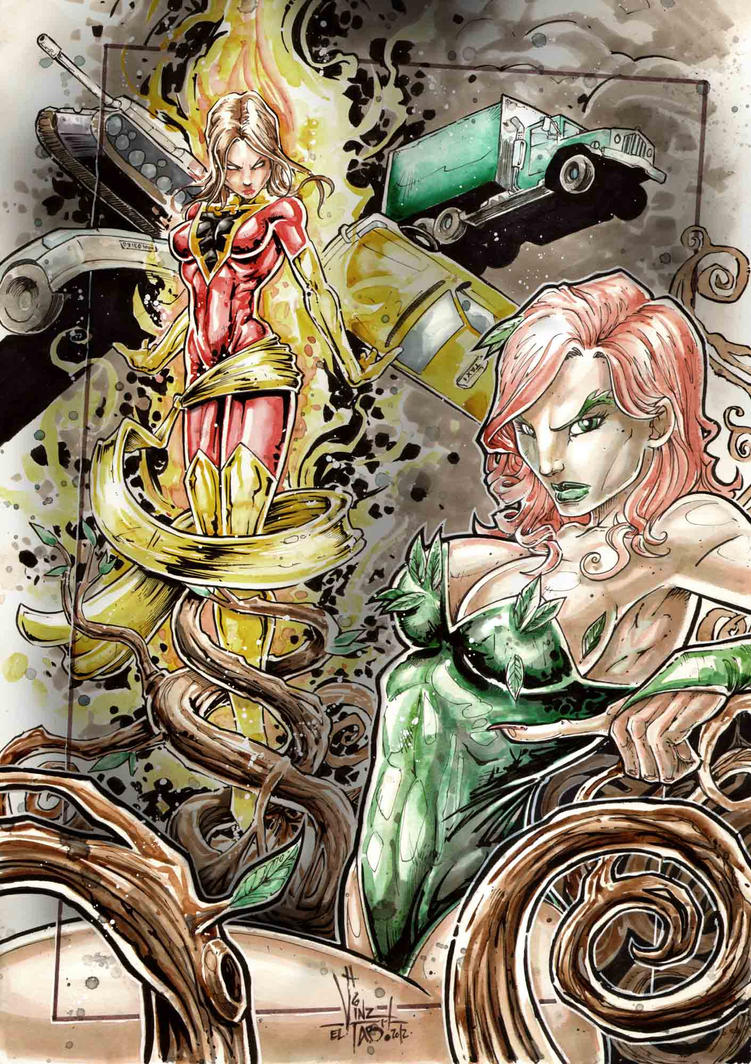 POison IVY and Dark PHOENIX by Vinz-el-Tabanas