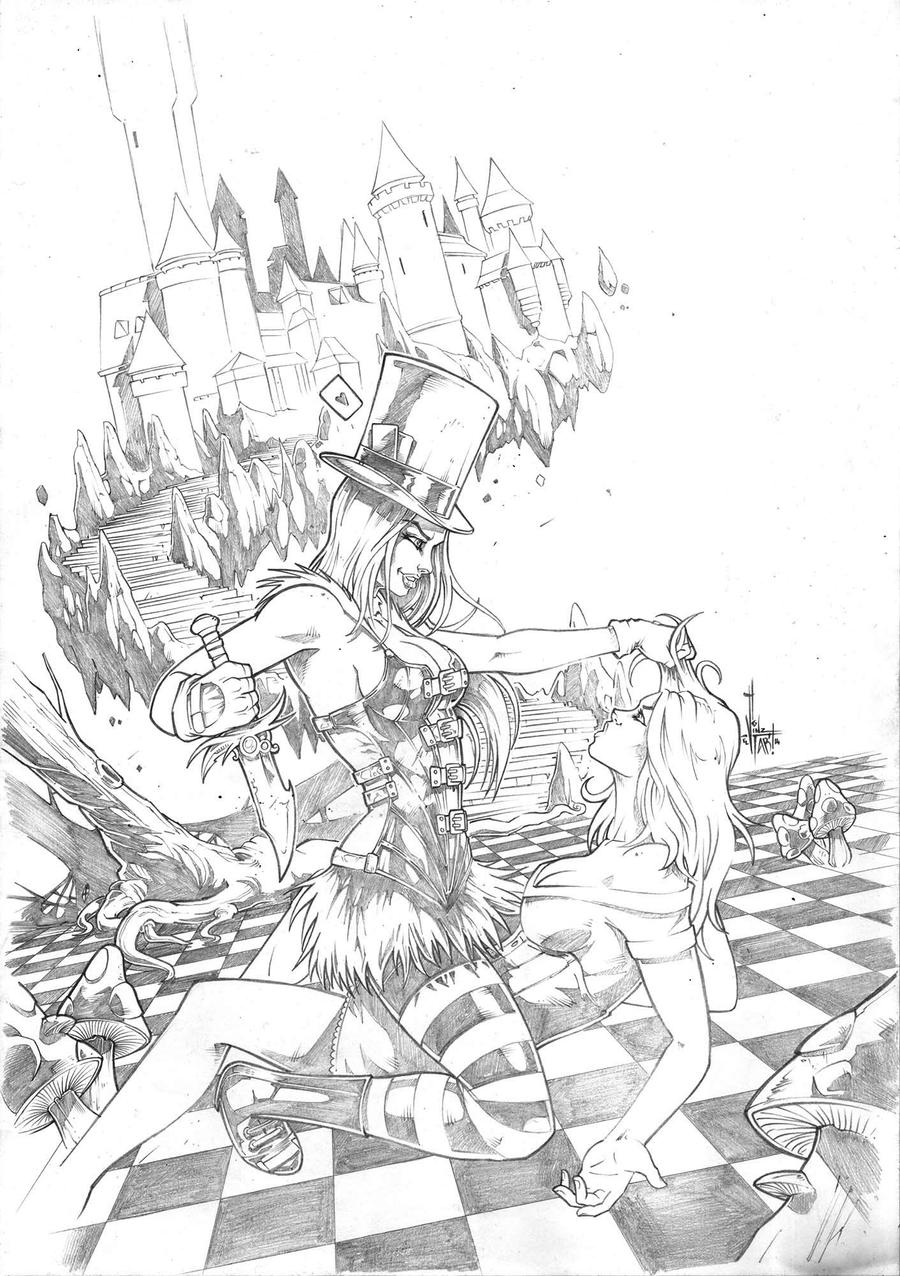 Grimm fairy tales wonderland 31 pencil by vinz el tabanas for Fairy tale coloring pages for adults