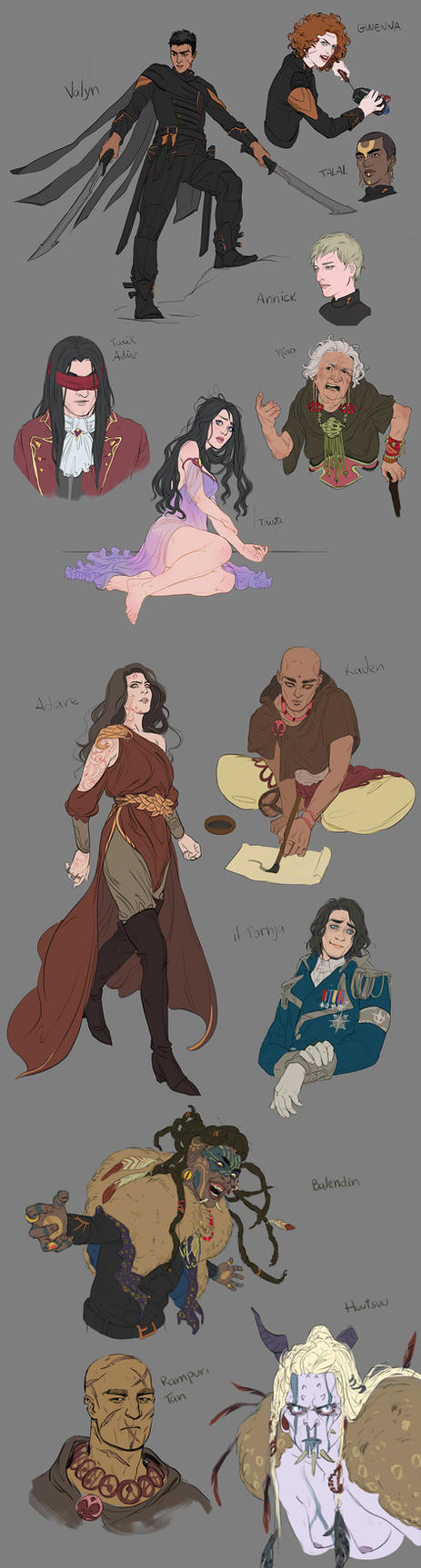 Chronicles of Unhewn Throne: Characters Concepts by GisAlmeida