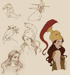 Athena doodles by Ninidu