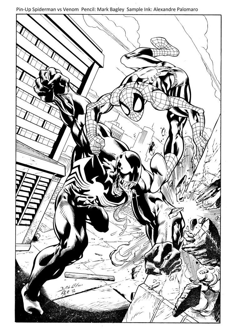 Spiderman vs venom sample ink by apalomaro on deviantart for Spiderman vs venom coloring pages