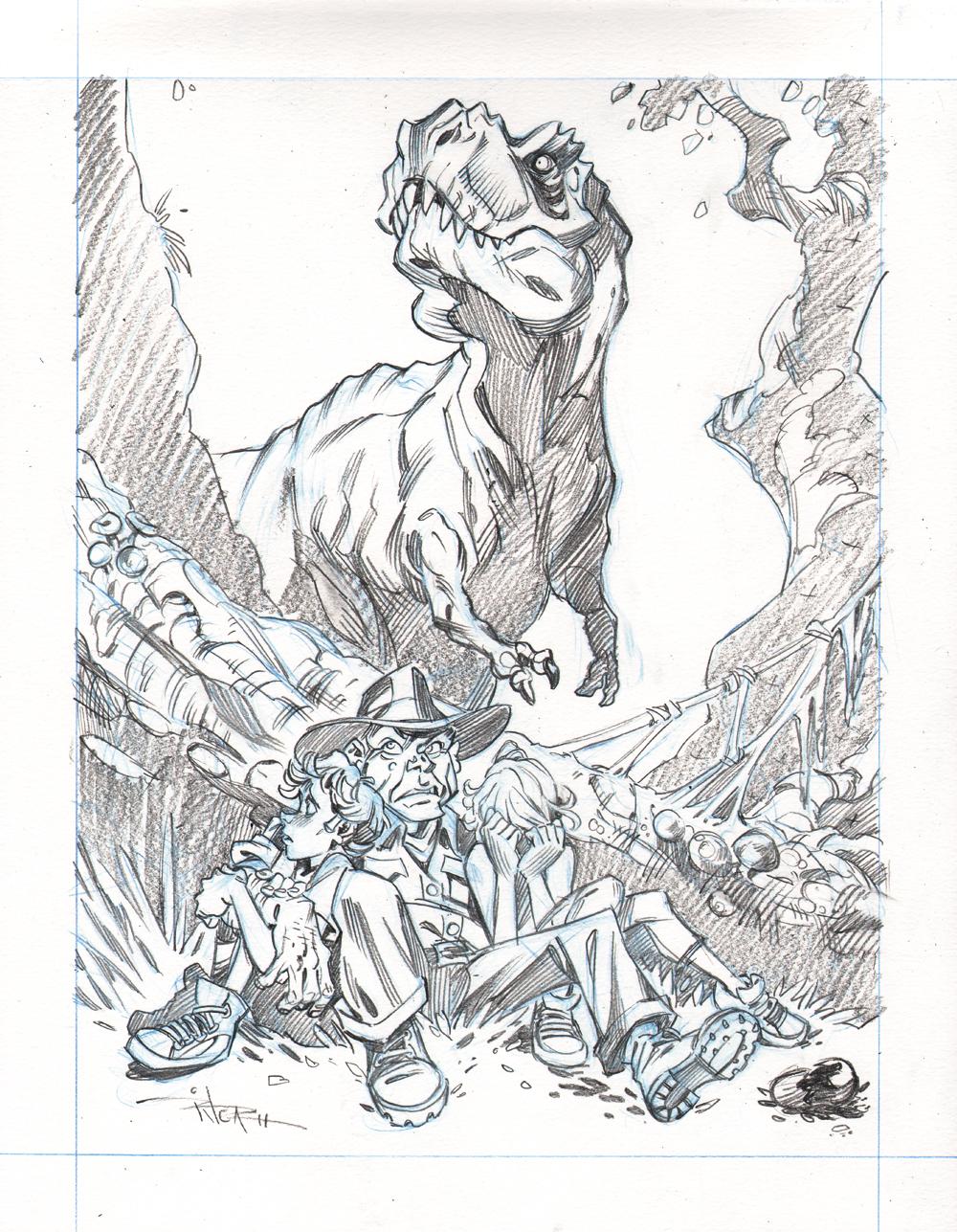 Line Art Vs Painting : Jurassic park by nrique on deviantart