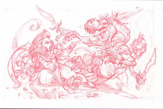 Dino Huntress2  pencils