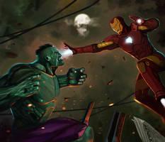 Hulk and Iron Man by el-gallo