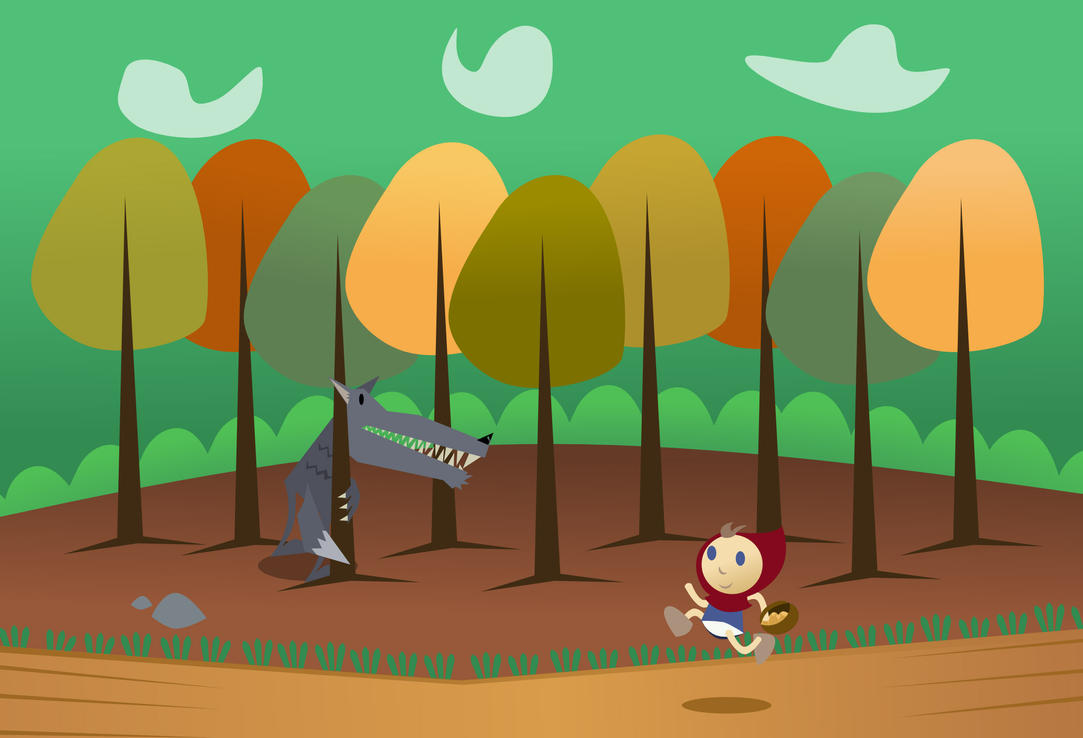 Little red riding hood in the woods by Mafon