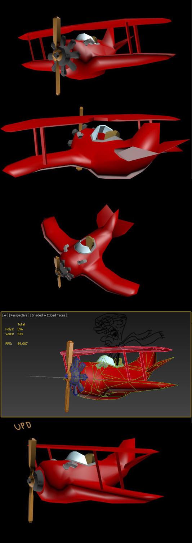 Cartoony plane - 1042 / 890 / 736 tris by Mafon
