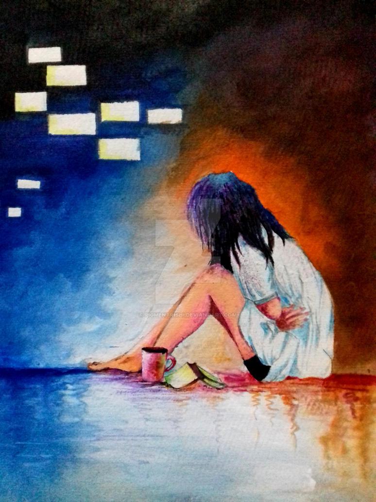 Alone girl by pigmentrishi