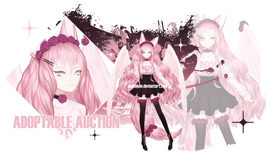[SOLD] Pink Rose Kitsune Auction by SashaKim
