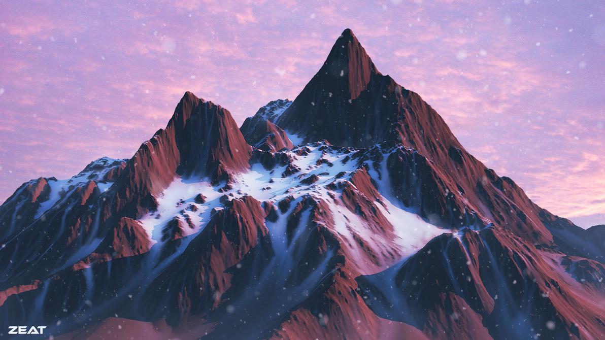 Snowy mountains by Zeat-da
