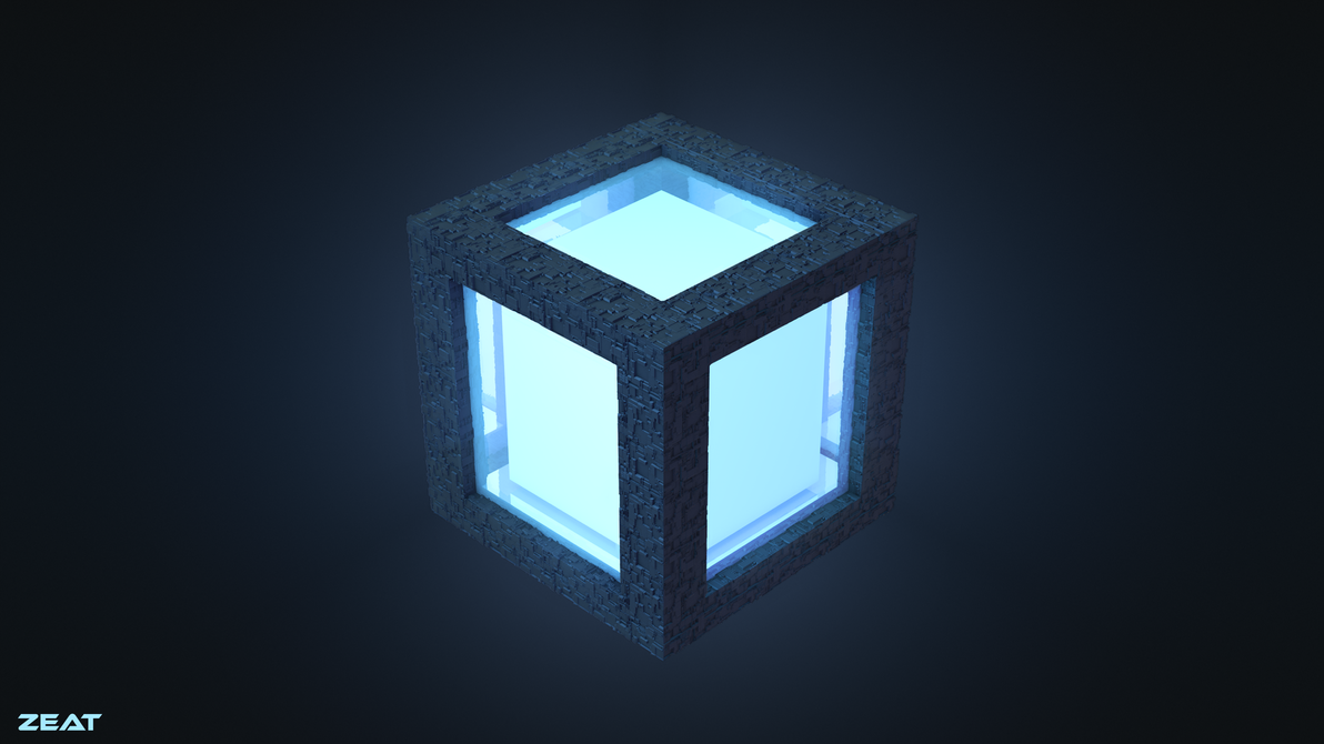 Abstract glowing cube by Zeat-da