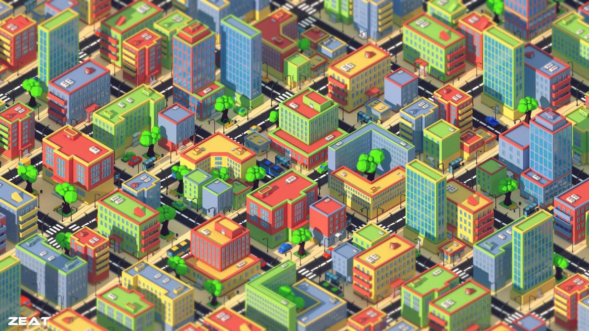 Low poly city by Zeat-da on DeviantArt