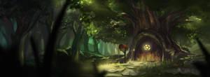 Tree lodging by Deviantcloverlee