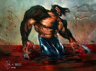 Logan's Triumphant Blood Bath by WadeFurlong