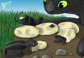 Night Fury Hatchlings by Mietschie