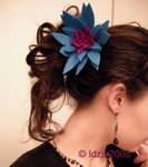 Teal flower pin