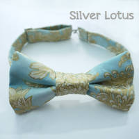 Sky blue bowtie with gold chrysanthemums