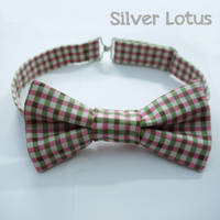 Pink and Green gingham bow tie