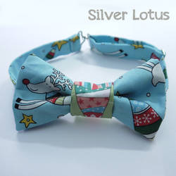 Christmas bow tie with fun Reindeer