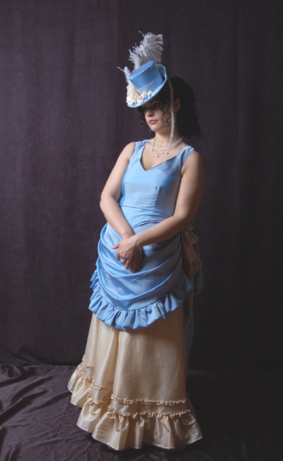 Victorian Costume Bustle Gown Reproduction Floral Dress with