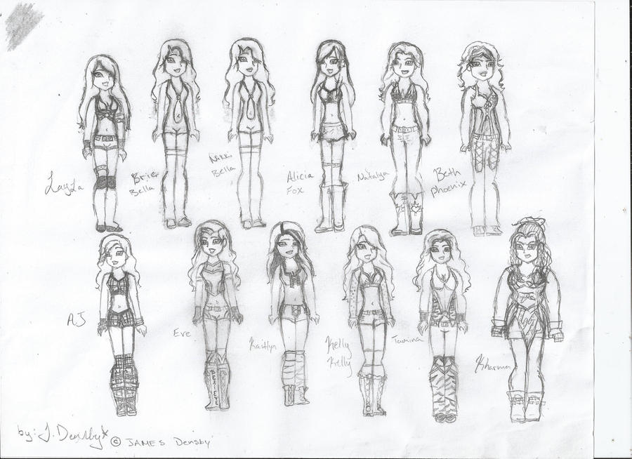 Wwe divas uncolored by james2419 on deviantart for Wwe diva coloring pages
