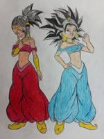 Caulifla and Kale: Arabian Saiyan Princesses.