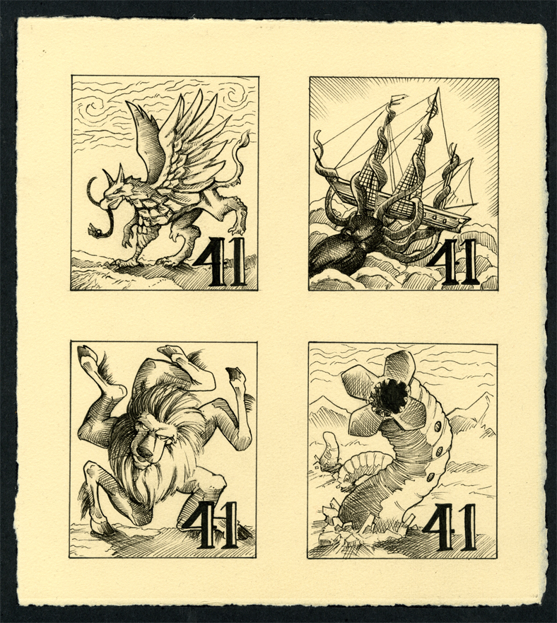 Mythological monster Stamps by HolyLancer9