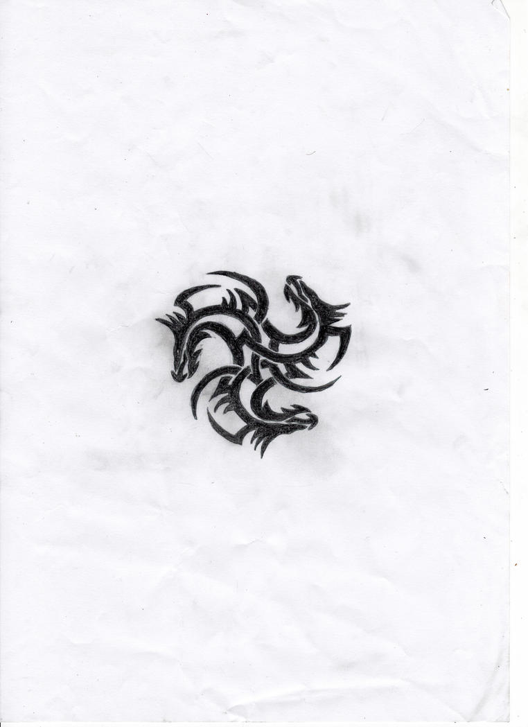 Tri-Dragon Tattoo Design by