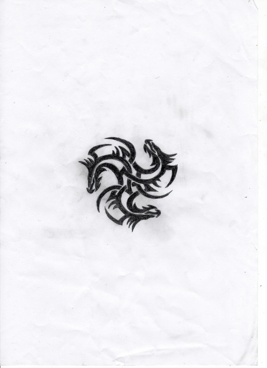 TriDragon Tattoo Design by