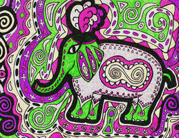 Psychedelic Circus Elephant by MandyMcPebbleFace