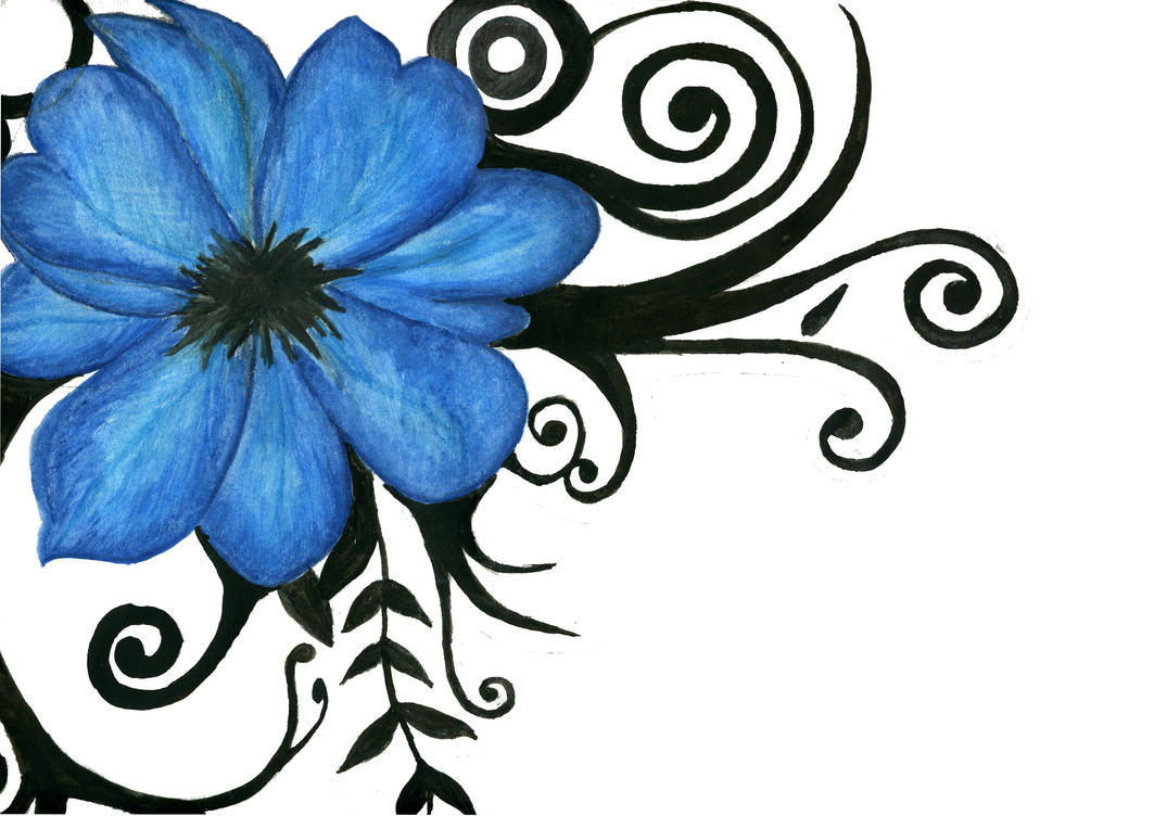 Blue Tribal Flower - flower tattoo