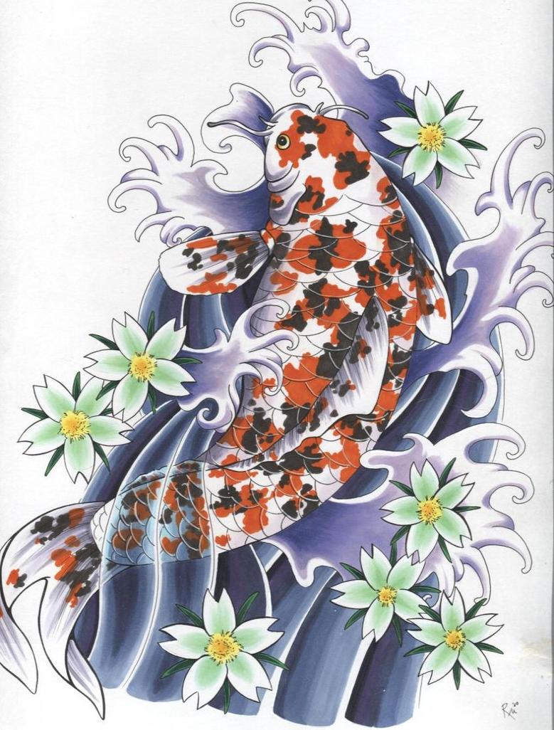 Japanese koi tattoo by gruenerlauch on deviantart for Koi japanese art