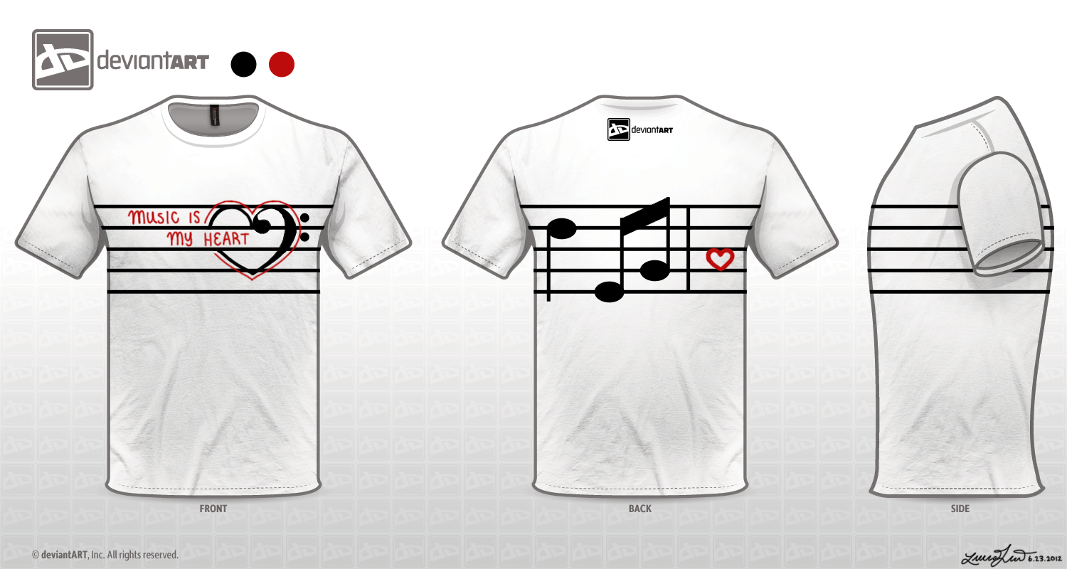 Heart design t shirt -  Music Is My Heart T Shirt Design By X3strawb3rry