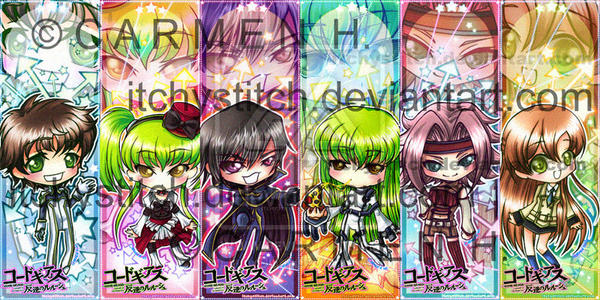 Code Geass Bookmarks--Set 1 by ItchyStitch