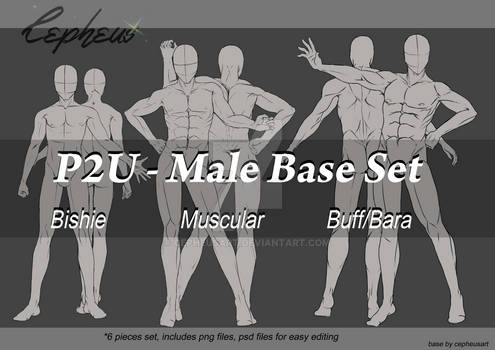 P2U - Male Base Set with 3 different body types
