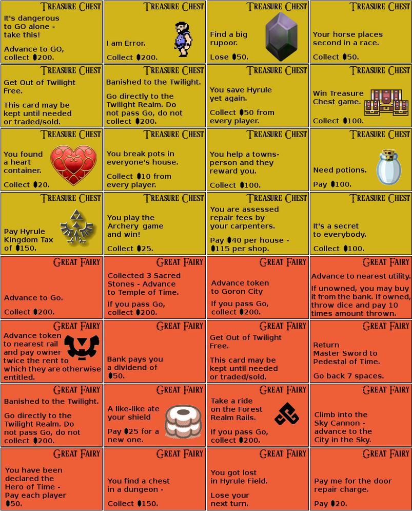 Zelda Monopoly: Cards by wrightmat on DeviantArt